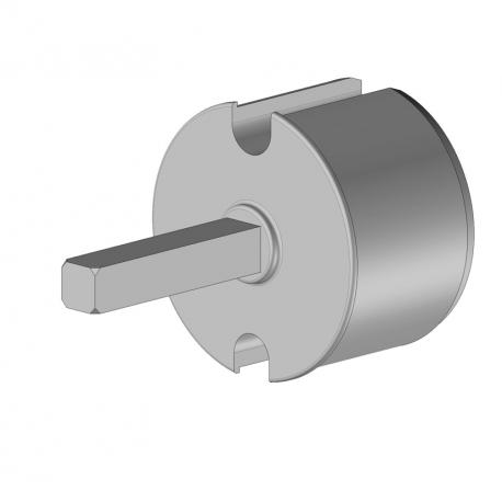 Tourillon carré de 13x13 mm long pour tube Ø78 injection aluminium - store double pente